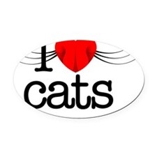 I love cats! Oval Car Magnet