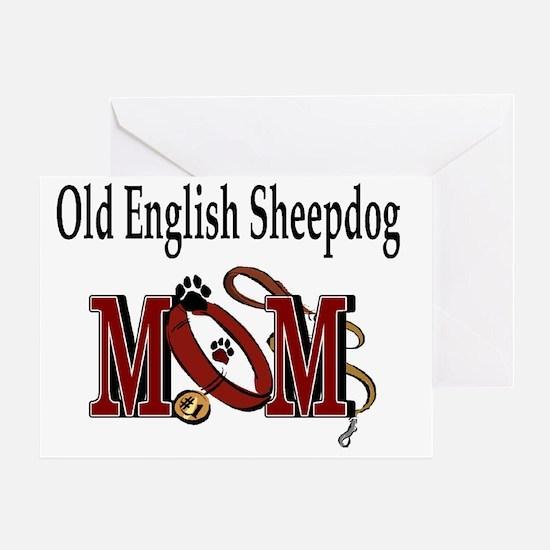 Old English Sheepdog Mom Greeting Card
