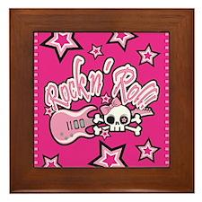 Girly Rock n Roll Skull Framed Tile