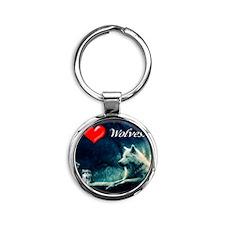 I Love Wolves Round Keychain