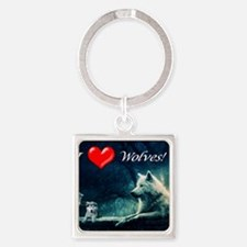 I Love Wolves Square Keychain