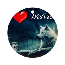 I Love Wolves Round Ornament