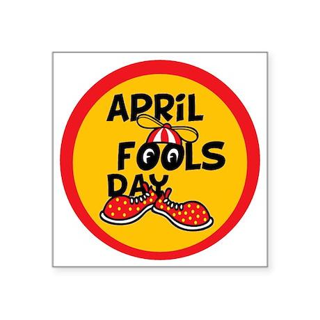 "April Fools Day Beanie Boy Square Sticker 3"" x 3"""