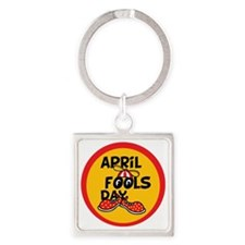 April Fools Day Beanie Boy Square Keychain
