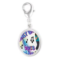 Honey Badger Does Karaoke! Silver Oval Charm
