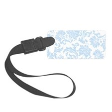 Sky Blue and White Damask Luggage Tag