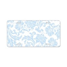 Sky Blue and White Damask Aluminum License Plate