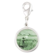 Hunting Wild Geese Silver Round Charm