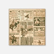 "Vintage Rodeo Round-Up Square Sticker 3"" x 3"""