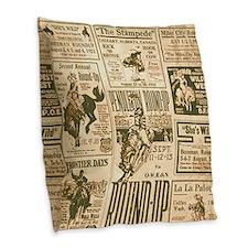 Vintage Rodeo Round-Up Burlap Throw Pillow