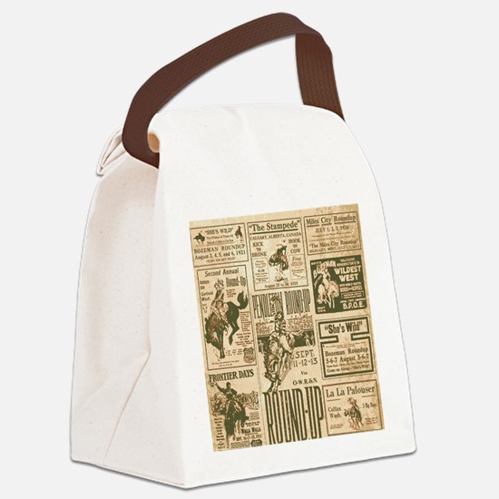 Vintage Rodeo Round-Up Canvas Lunch Bag