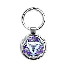 Celtic Triple Crescents - Purple Round Keychain