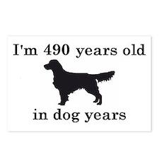 70 birthday dog years golden retriever 2 Postcards