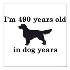 70 birthday dog years golden retriever 2 Square Ca