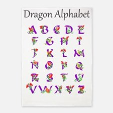 Dragon Alphabet 5'x7'Area Rug