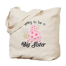 Im going to be a big sister Dottie Pink L Tote Bag