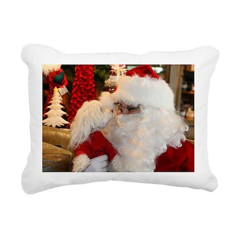 Kissing Santa Rectangular Canvas Pillow