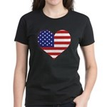 Stars & Stripes Heart Women's Dark T-Shirt