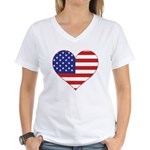 Stars & Stripes Heart Women's V-Neck T-Shirt