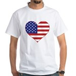 Stars & Stripes Heart White T-Shirt