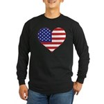Stars & Stripes Heart Long Sleeve Dark T-Shirt