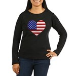 Stars & Stripes Heart Women's Long Sleeve Dark T-S