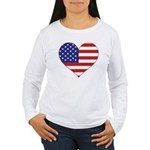 Stars & Stripes Heart Women's Long Sleeve T-Shirt