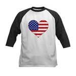Stars & Stripes Heart Kids Baseball Jersey