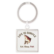 Life is Simple Square Keychain