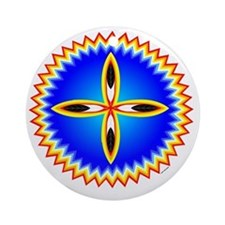 EAGLE FEATHER CROSS MEDALLION Round Ornament