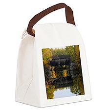 Covered Bridge Autumn View Canvas Lunch Bag