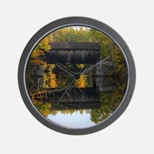 Covered Bridge Autumn View Wall Clock