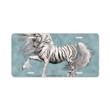White Tiger Unicorn Aluminum License Plate