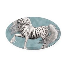 White Tiger Unicorn Oval Car Magnet