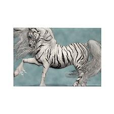 White Tiger Unicorn Rectangle Magnet