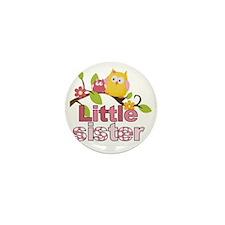 Happy Owls Little Sister Mini Button