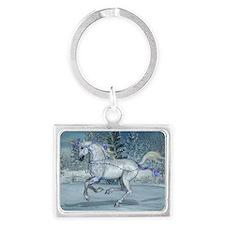 2012 Holiday Unicorn Blue Landscape Keychain