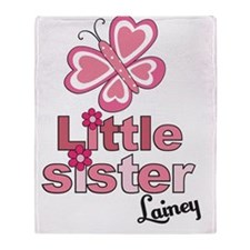 Little Sister Butterfly Shirt Custom Throw Blanket