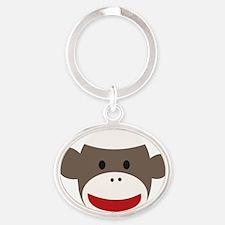 Sock Monkey Face Oval Keychain