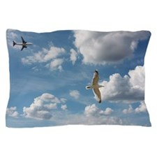Bird and air plane fly together agains Pillow Case