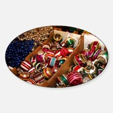Antique Christmas Ornaments Sticker (Oval)