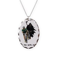 Grim Reaper Chasing Cyclist Necklace
