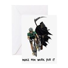 Grim Reaper Chasing Cyclist Greeting Card