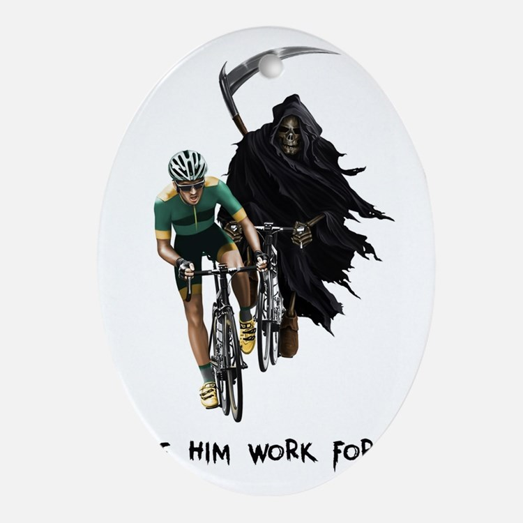 Grim Reaper Chasing Cyclist Oval Ornament