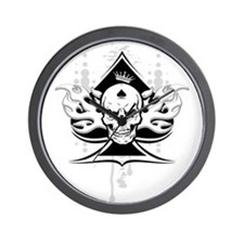 ace of spades skull Wall Clock