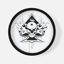 ace of spades skull Wall Clock