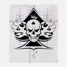 ace of spades skull Throw Blanket