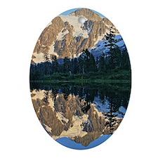 Mt Shuksan over Picture Lake Oval Ornament