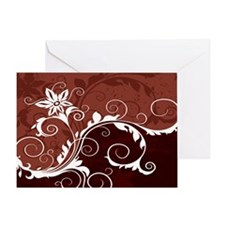 White on Red Floral Greeting Card