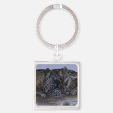 French Bulldogs with Snail Square Keychain